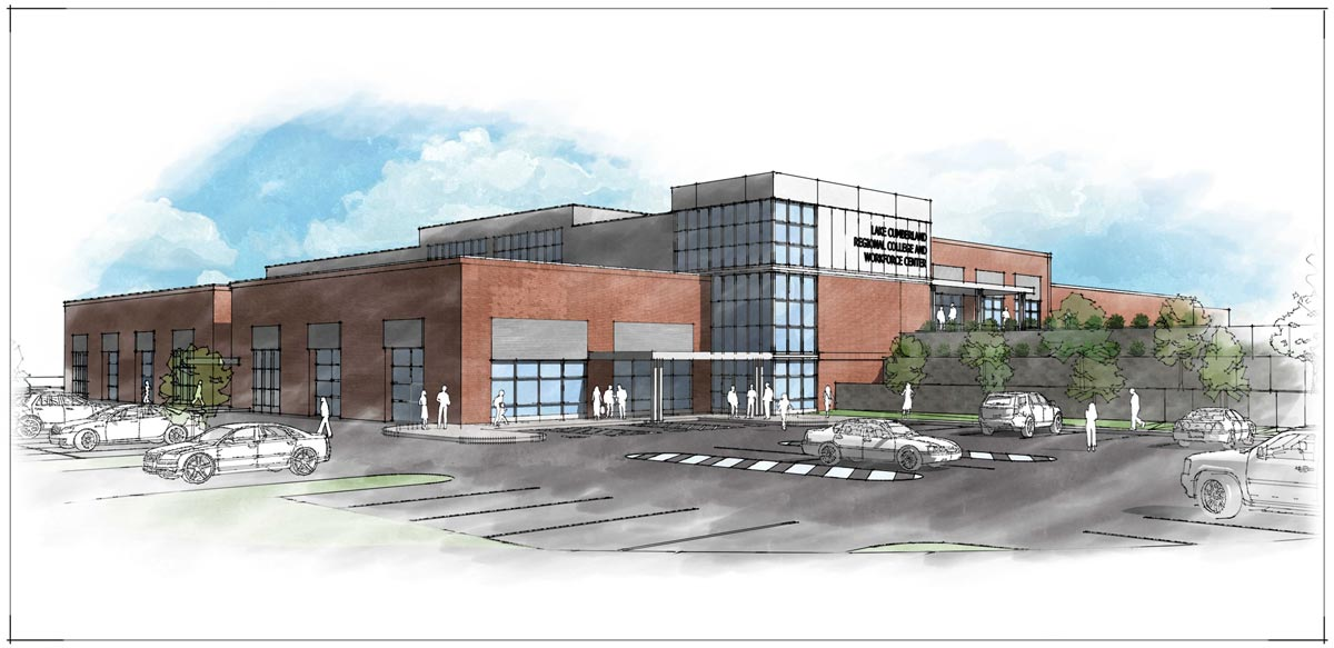 Architects rendering of the Lake Cumberland Regional College & Workforce Center