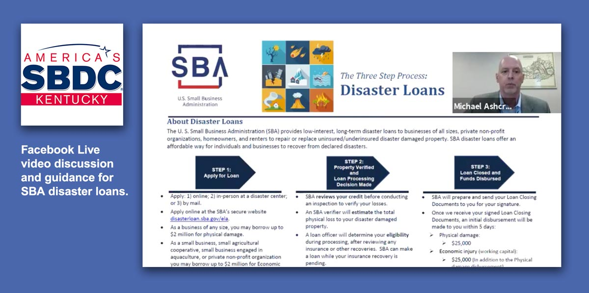 Screen capture from video presentation of SBA disaster loan guidance video.